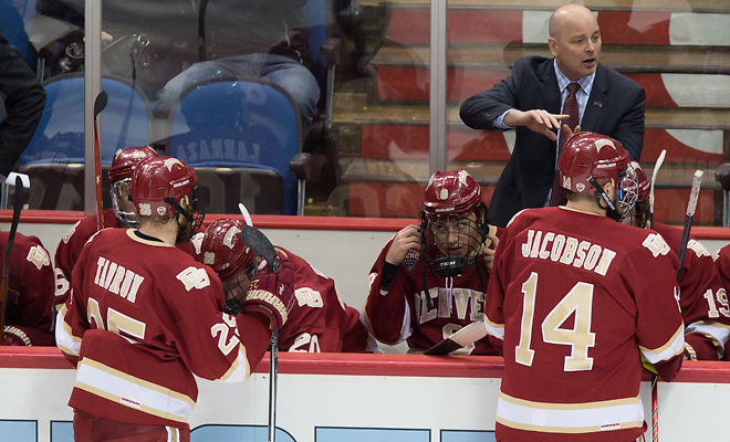 15 March 20 National Collegiate Hockey Conference Tournament match-up at the Target Center in Minneapolis,Minnesota Denver Pioneers and Miami of Ohio Redhawks Coach Jim Montgomery Denver (Bradley K. Olson)