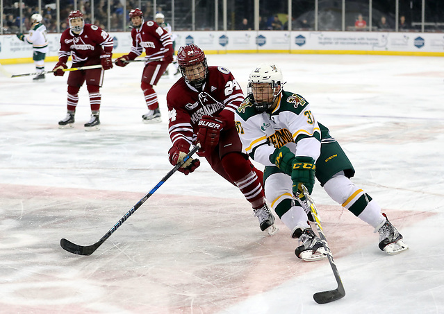 Press Eye - Belfast - Northern Ireland - 25th November 2016 - Photo by William Cherry Vermont Catamounts' Ross Colton with UMass Minutemen's Shane Bear during Friday afternoons Friendship Four game at the SSE Arena, Belfast. Four teams from the USA are competing in the NCAA mens ice-hockey tournament in the hope of winning the Belpot Trophy. Photo William Cherry/Presseye (©William Cherry / Presseye)