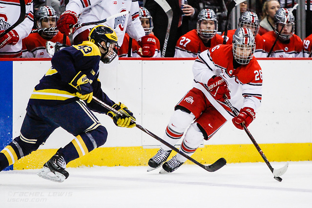 JAN 26, 2018: Mason Jobst (OSU - 26), Quinn Hughes (Michigan - 43) The #6 Ohio State Buckeyes shut out the #20 Michigan Wolverines 4-0 at Value City Arena in Columbus, OH. (Rachel Lewis - USCHO) (Rachel Lewis/©Rachel Lewis)