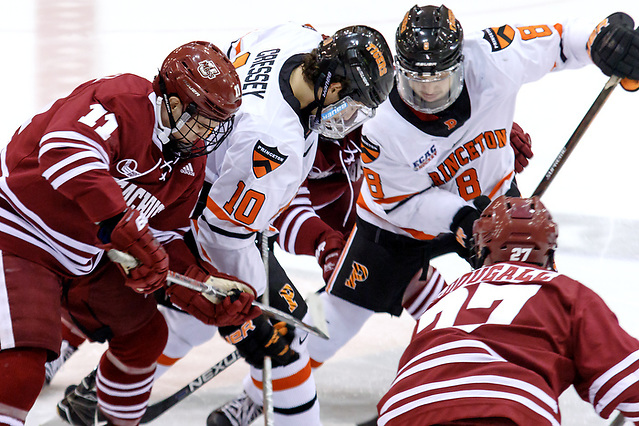 Griff Jeszka (UMASS - 11), Jackson Cressey (Princeton - 10), Max Becker (Princeton - 8), and Riley McDougall (UMASS - 27) battle on a face off. ((c) Shelley M. Szwast 2016)