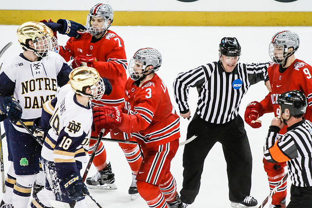 17 MAR 2018: Wyatt Ege (OSU - 7), Sasha Larocque (OSU - 3), Tanner Laczynski (OSU - 9), Cam Morrison (ND - 26), Jake Evans (ND - 18). The University of Notre Dame Fighting Irish host the Ohio State University in the 2018 B1G Championship at Compton Family Ice Arena in South Bend, IN. (Rachel Lewis - USCHO) (Rachel Lewis/©Rachel Lewis)