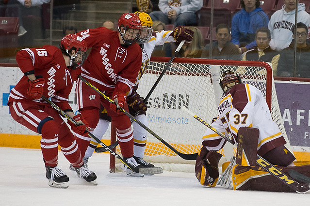 1 Dec 17: Trent Frederic (Wisconsin - 34). The University of Minnesota Golden Gophers hosts the University of Wisconsin Badgers in a B1G matchup at 3M Arena at Mariucci in Minneapolis, MN. (Jim Rosvold/USCHO.com)
