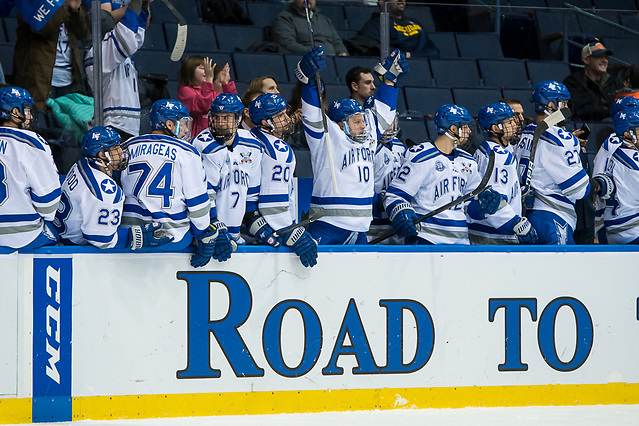 Air Force players celebrate a first period goal, as they lead 3-0 after the first period (2018 Omar Phillips)