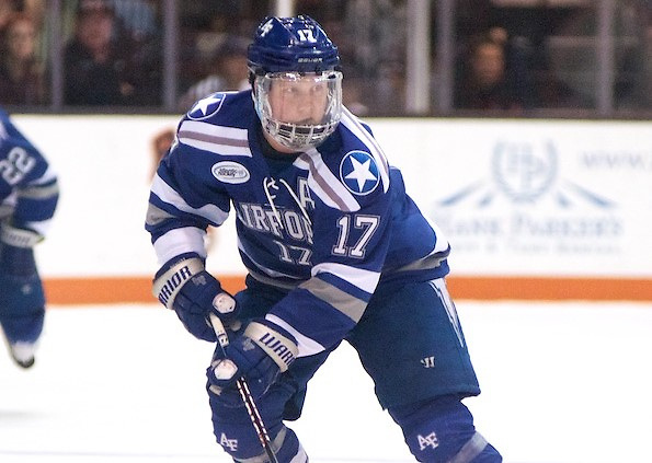 Chad Demers (17 - Air Force) scored the lone goal for the Falcons in a 2-1 loss at RIT (Omar Phillips)