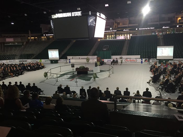 Munn Ice Arena hosted a funeral service for Ron Mason on Thursday, June 16, 2016. (Nate Ewell)