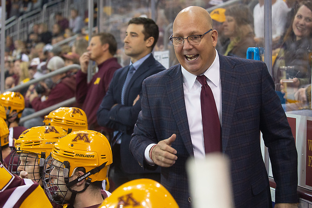 6 Oct 18: Bob Motzko (Minnesota - Head Coach). The University of Minnesota Golden Gophers play against the University of Minnesota Duluth Bulldogs in a non-conference matchup at AMSOIL Arena in Duluth, MN. (Jim Rosvold/University of Minnesota)