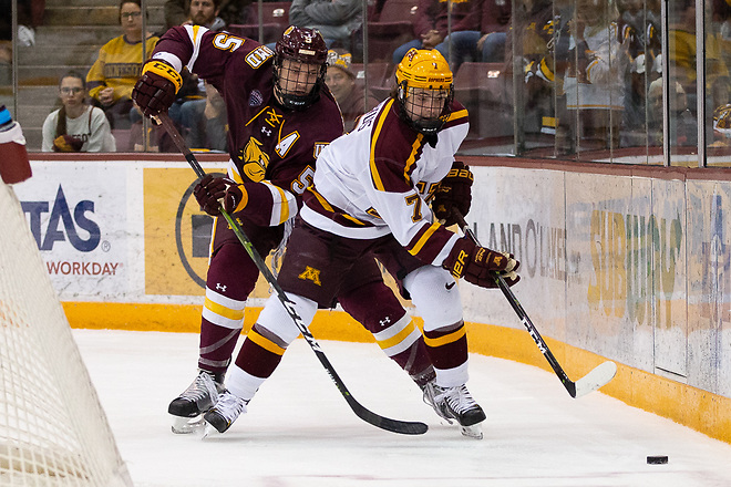 7 Oct 18: The University of Minnesota Golden Gophers host the University of Minnesota Duluth Bulldogs in a non-conference matchup at 3M Arena at Mariucci in Minneapolis, MN. (Jim Rosvold/University of Minnesota)