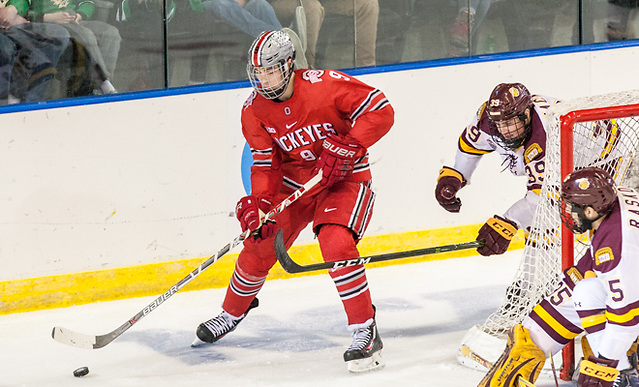 Tanner Laczynski (Ohio State - 9) 24 March 17 Ohio State and University of Minnesota Duluth meet in the NCAA West Region at Scheels Arena Fargo, ND (Bradley K. Olson)