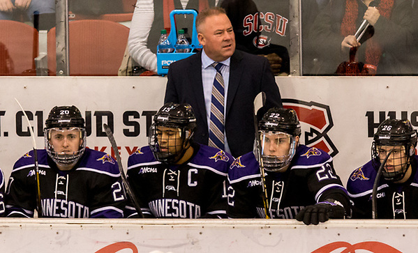 Coach Mike Hastings (Mankato State University Head Coach ) 2018 Jan. 12 The St.Cloud State University Huskies host Mankato State University n a non conference matchup at the Herb Brooks National Hockey Center in St. Cloud, MN (Bradley K. Olson)