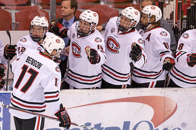 Jacob Benson (SCSU-17) 2018 October 7 St. Cloud State University hosts Mount Royal University in a exhibition contest at the Herb Brooks National Hockey Center (Bradley K. Olson)