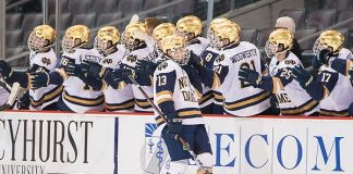 Notre Dame players celebrate a goal by Colin Theisen (13 - Notre Dame) (2018 Omar Phillips)