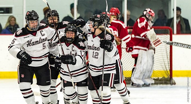 Hamline women's hockey celebrates a goal (Hamline Athletics)