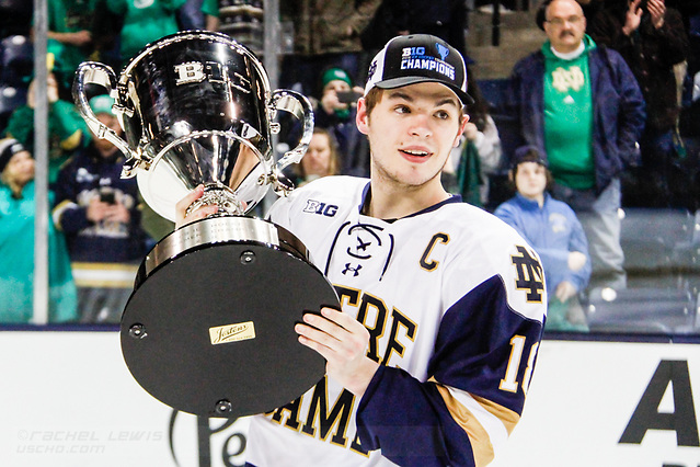 17 MAR 2018: Jake Evans (ND - 18). The University of Notre Dame Fighting Irish host the Ohio State University in the 2018 B1G Championship at Compton Family Ice Arena in South Bend, IN. (Rachel Lewis - USCHO) (Rachel Lewis/©Rachel Lewis)