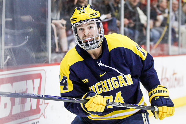 JAN 26, 2018: Nicholas Boka (Michigan - 74) The #6 Ohio State Buckeyes shut out the #20 Michigan Wolverines 4-0 at Value City Arena in Columbus, OH. (Rachel Lewis - USCHO) (Rachel Lewis/©Rachel Lewis)
