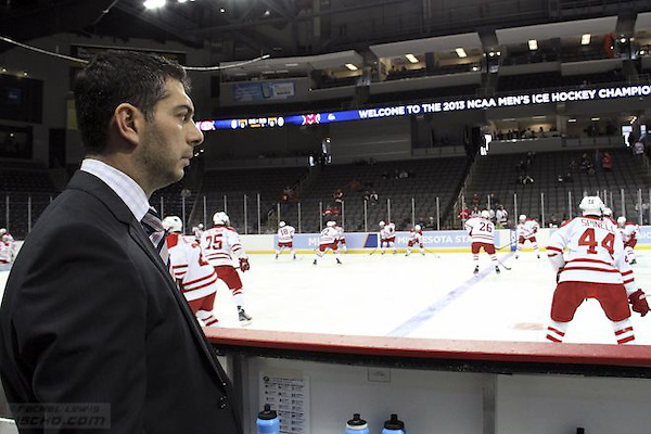 31 MAR 2013: MIami Head Coach Enrico Blasi. Miami University plays St. Cloud State University in the NCAA Midwest Regional finals at the Huntington Center in Toledo, OH. The winner of this game goes to the Frozen Four in Pittsburgh. (USCHO - Rachel Lewis) (©Rachel Lewis)