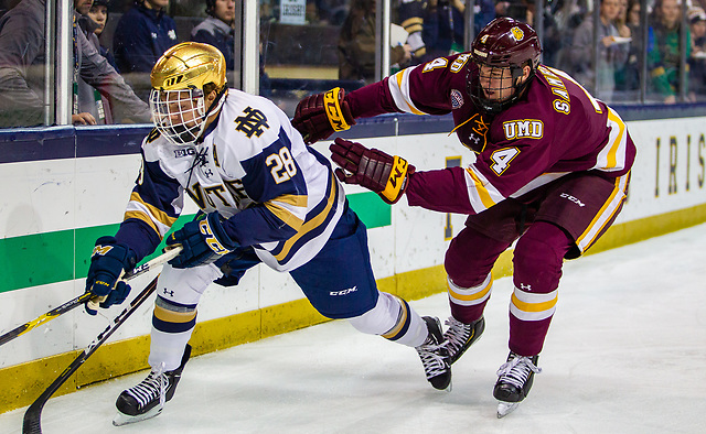 game action between University of Notre Dame vs Minnesota Duluth at Compton Family Ice Arena on October 27, 2018 in South Bend, Indiana. (Mike Miller/Fighting Irish Media)