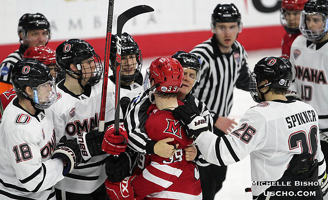 Omaha beat Miami 6-3 Saturday night at Baxter Arena. (Photo by Michelle Bishop) (Michelle Bishop)