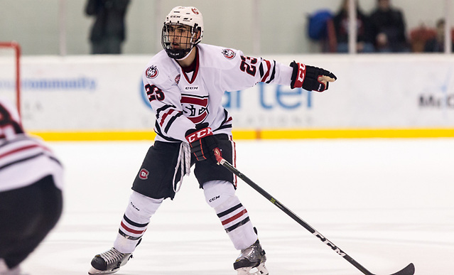 Robby Jackson (SCSU-23) 17 Feb.11 Miami of Ohio and St. Cloud State University meet in a NCHC conference match-up at theHerb Brooks National Hockey Center (Bradley K. Olson)