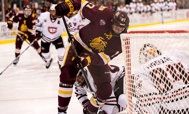Riley Tufte (Minnesota-Duluth-27) 2017 Nov. 4 The St.Cloud State University Huskies host the University of Minnesota Duluth Bulldogs in a NCHC matchup at the Herb Brooks National Hockey Center in St. Cloud, MN (Bradley K. Olson)