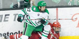 Josh Ess (Wisconsin -20) Ludwig Hoff (North Dakota-27) 2018 November 3 The University of North Dakota hosts the Wisconsin Badgers in a non conference matchup at the Ralph Engelstad Arena in Grand Forks, ND (Bradley K. Olson)