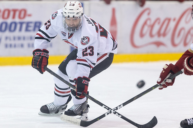 Robby Jackson (SCSU-23) 2018 November 10 St.Cloud State University hosts Denver in a NCHC contest at the Herb Brooks National Hockey Center in St. Cloud, MN (Bradley K. Olson)
