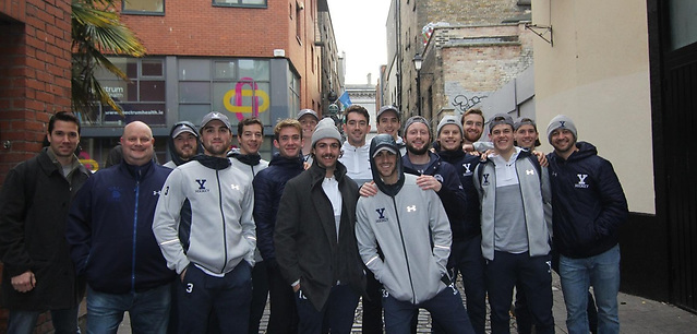 Yale players take time to pose for a picture in Belfast before getting down to business on the ice Friday (photo: Yale Athletics)