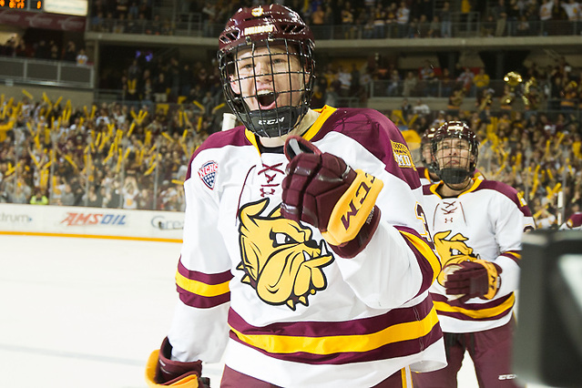 6 Oct 17: Mikey Anderson (Minnesota Duluth - 3). The University of Minnesota Duluth Bulldogs host the University of Minnesota Golden Gophers in the 2017 Icebreaker Tournament at Amsoil Arena in Duluth, MN. (Jim Rosvold/USCHO.com)