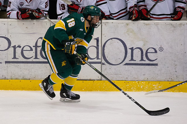 19 Oct 18:  Joseph Nardi (Northern Michigan - 18). The St. Cloud State University Huskies host the Northern Michigan University Wildcats in a non-conference matchup at the Herb Brooks National Hockey Center in St. Cloud, MN. (Jim Rosvold)