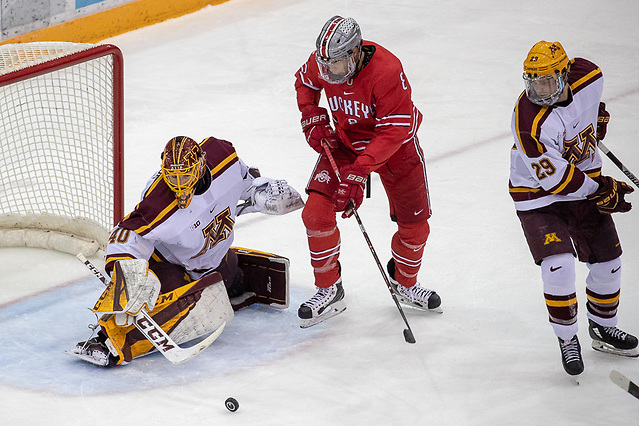 30 Nov 18:  The University of Minnesota Golden Gophers host the Ohio State University Buckeyes in a B1G conference matchup at 3M Arena at Mariucci in Minneapolis, MN.  Photo: Jim Rosvold (Jim Rosvold/University of Minnesota)