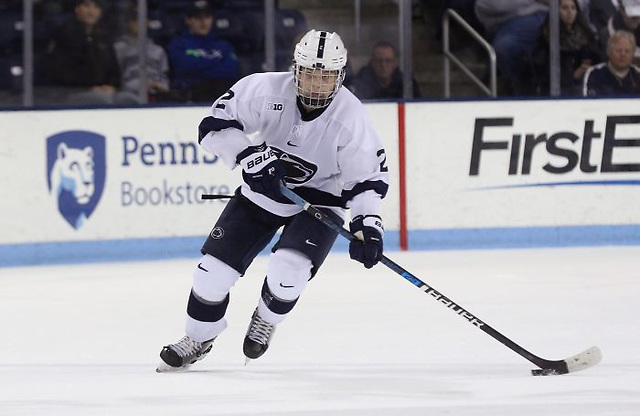 Penn State's Cole Hults (2) against Princeton in the third period on Oct. 26, 2018. No. 10 Penn State defeated No. 13. Princeton 4-2.  Photo/Craig Houtz Cole Hults (photo: Craig Houtz/Penn State Athletics)