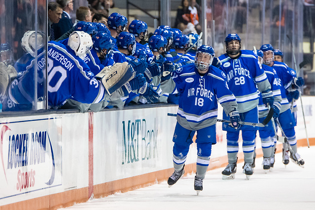 Air Force players celebrate a goal by Evan Feno (18 - Air Force) (2018 Omar Phillips)