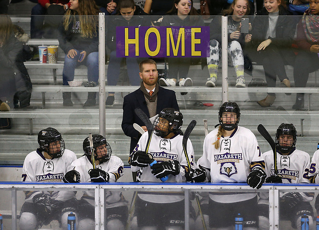 Coach Chris Baudo behind the Nazareth bench. (JAMIE GERMANO/ROCHESTER DEMOCRAT AND CHRONICLE)