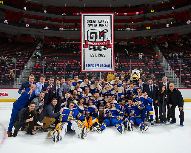 DETROIT, MI - DECEMBER 31: The Lake Superior State Lakers win the 2018 Great Lakes Invitational Hockey Tournament championship game against the Michigan Tech Huskies 6-3 at Little Caesars Arena on December 31, 2018 in Detroit, Michigan. (Photo by Dave Reginek/Getty Images) *** Local Caption *** (Dave Reginek/photo: Detroit Red Wings)