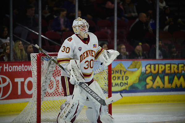 Filip Larsson of Denver, Providence at Denver at Magness Arena, Nov. 24, 2018 (Candace Horgan)