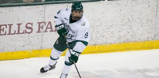 08 Dec 17: Ethan Somoza (Bemidji State - 9). The Bemidji State University Beavers host the Northern Michigan University Wildcats in a WCHA Conference matchup at the Sanford Center in Bemidji, MN. (Jim Rosvold)