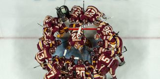 5 Apr 18: The University of Minnesota Duluth plays against the Ohio State University in a national semifinal of the the 2018 NCAA Division 1 Men