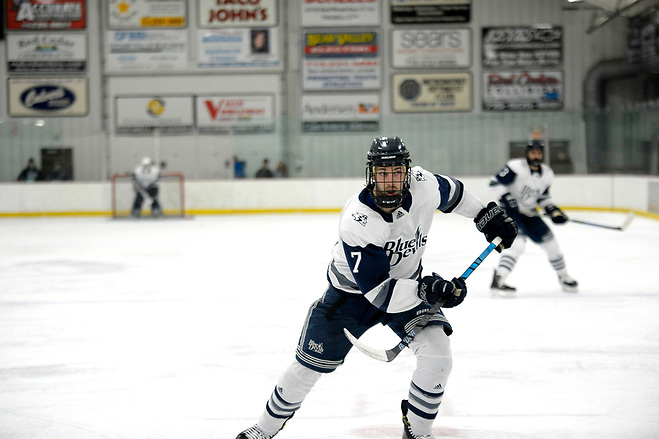 2018 UW-Stout Men's Hockey vs the Northland College Lumberjacks at home on Saturday December 8th, 2018/ UW - Stout Sports Information Photo Hunter Anderson of Wisconsin-Stout (Kyleah Rusch / UW-Stout Sports Information)