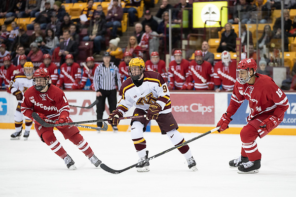 25 Jan 19: The University of Minnesota Golden Gophers host the University of Wisconsin Badgers in B1G matchup at 3M at Mariucci Arena in Minneapolis, MN. (Jim Rosvold)