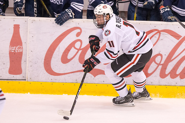 Ryan Poehling (SCSU-11) 2018 October 7 St. Cloud State University hosts Mount Royal University in a exhibition contest at the Herb Brooks National Hockey Center (Bradley K. Olson)