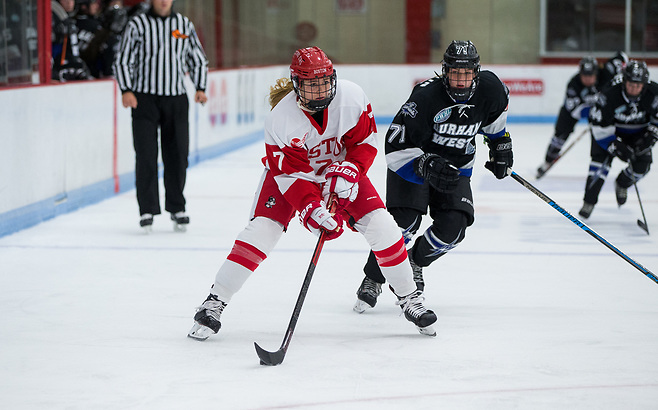 BOSTON, MA - SEPTEMBER 28: NCAA woman's hockey at Walter Brown Arena between Boston University and the Durham West Lightning on September, 2018 in Boston, Massachusetts. (Photo by Rich Gagnon) Jesse Compher of Boston University (Rich Gagnon/Boston University Athletics)