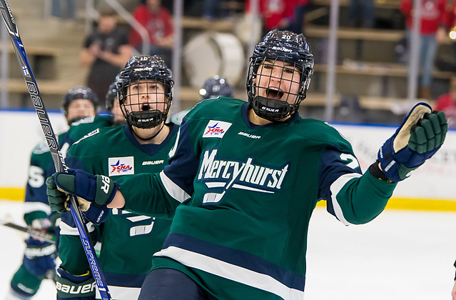 Emma Nuutinen (20 - Mercyhurst) after scoring a first period goal (2018 Omar Phillips)