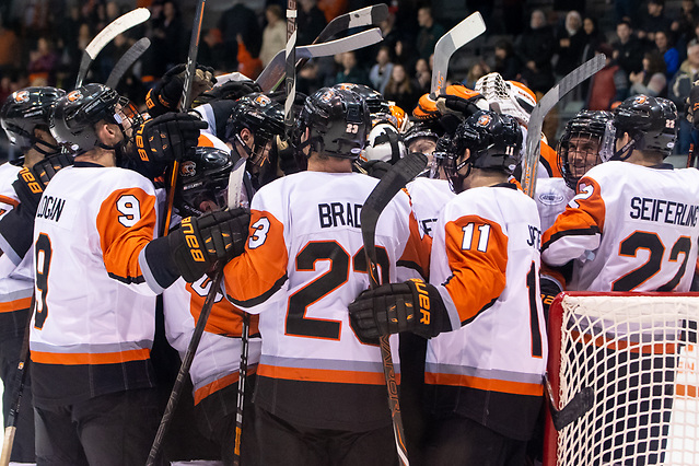 RIT players celebrate a last second win over Niagara (2019 Omar Phillips)