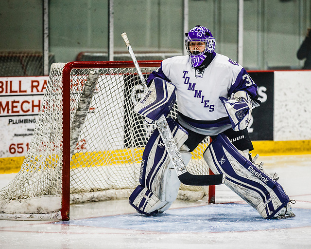 Kenzie Torpy plays goal during a women's hockey game against St. Catherine University January 20, 2017 at the St. Thomas Ice Arena in Mendota Heights. The Tommies beat the St. Kate's Wildcats 3-1. (Mike Ekern/University of St. Thomas)