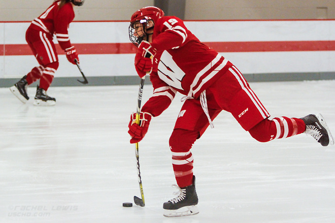 Annie Pankowski (Wisc - 19) The #1 Wisconsin Badgers complete the sweep over the Ohio State Buckeyes with a 5-0 win Saturday, December 10, 2016 at the OSU Ice Rink in Columbus, OH. (Rachel Lewis)