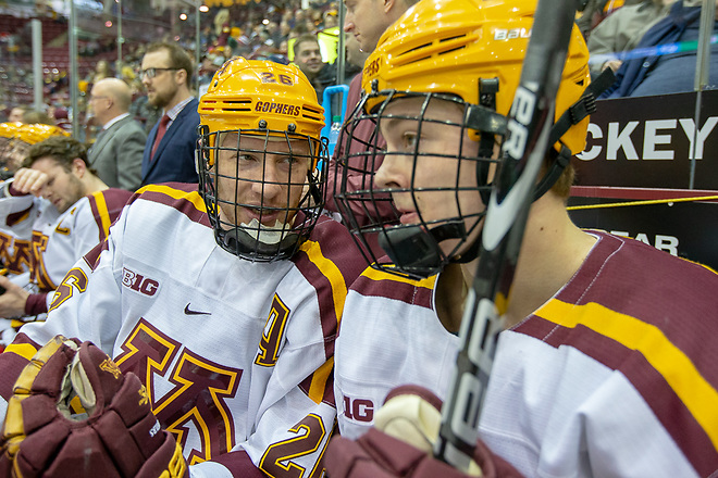 1 Feb 19: The University of Minnesota Golden Gophers host the University of Michigan Wolverines in B1G matchup at 3M at Mariucci Arena in Minneapolis, MN. (Jim Rosvold)
