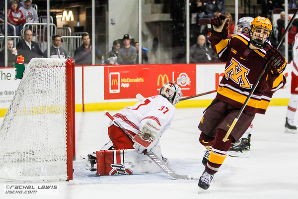 Tommy Nappier (OSU - 37), Nathan Burke (MINN - 21) The Ohio State Buckeyes lose 4-3 to the University of Minnesota Golden Gophers Saturday, February 16, 2019 at Value City Arena in Columbus, OH. (Rachel Lewis - USCHO) (Rachel Lewis/©Rachel Lewis)
