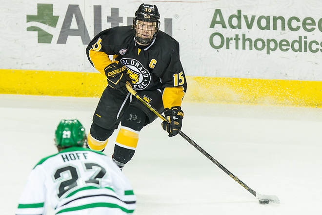 Mason Bergh (Colorado College-15) 2019 January 12 University of North Dakota hosts Colorado College in a NCHC matchup at the Ralph Engelstad Arena in Grand Forks, ND (Bradley K. Olson)