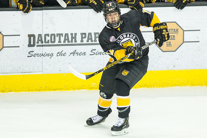 Ben Copeland (Colorado College-12) 2019 January 12 University of North Dakota hosts Colorado College in a NCHC matchup at the Ralph Engelstad Arena in Grand Forks, ND (Bradley K. Olson)