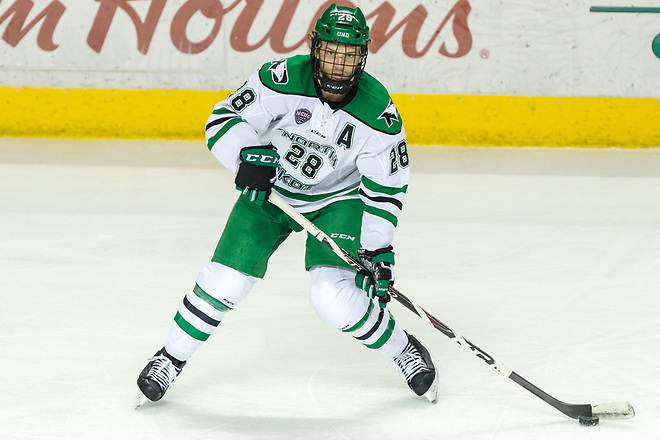 Hayden Shaw (North Dakota-28) 2019 January 12 University of North Dakota hosts Colorado College in a NCHC matchup at the Ralph Engelstad Arena in Grand Forks, ND (Bradley K. Olson)