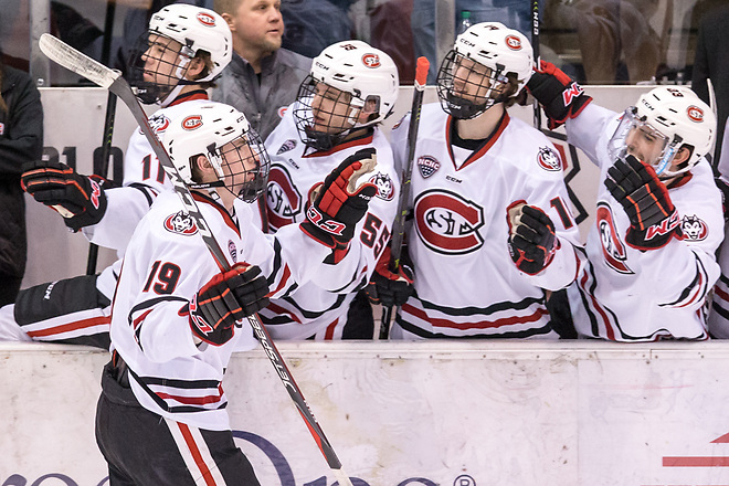 Sam Hentges (SCSU-19) 2019 February 9 St. Cloud State University hosts Colorado College in a NCHC contest at the Herb Brooks National Hockey Center (Bradley K. Olson)